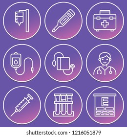 Pressure, blood sample, transfusion, syringe, blood transfusion, eye test, doctor, first aid kit icon set suitable for info graphics, websites and print media and interfaces