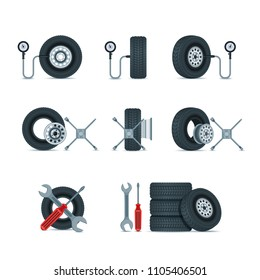 Pressure diagnostic and replacement wheels tools. Automobile tires, discs, screwdriver, wrench, cross key vector icons set. Car service design elements.
