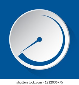 pressure gauge, dial, barometer symbol - simple blue icon on white button with shadow in front of blue square background