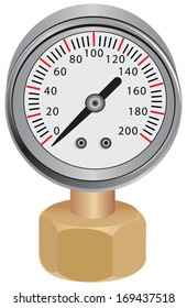 Pressure gauge, measuring instrument of pressure in the pipeline. Vector illustration.