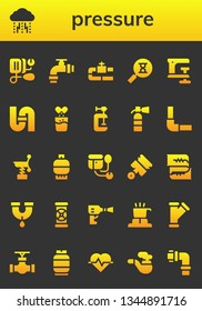 pressure icon set. 26 filled pressure icons.  Collection Of - Blood pressure, Depression, Pipe, Sandclock, Clamp, Effervescent, Extinguisher, Pipeline, Spring, Gas, Sphygmomanometer