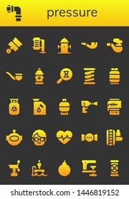 pressure icon set. 26 filled pressure icons.  Simple modern icons about  - Pistons, Pipes, Compressor, Hydrant, Pipe, Sandclock, Spring, Gas, Wheel pressure, Cardiogram, Aqualung