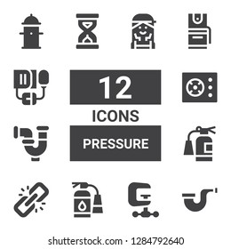 pressure icon set. Collection of 12 filled pressure icons included Pipe, Clamp, Extinguisher, Link, Cooker, Sandclock, Pepper spray, Blood pressure, Hydrant, Checker