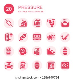 pressure icon set. Collection of 20 filled pressure icons included Link, Gravity, Extinguisher, Pipe, Submerge, Pressure, Stove, Compressor, Pepper spray, Failure, Gas, Checker