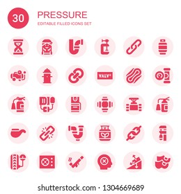 pressure icon set. Collection of 30 filled pressure icons included Sandclock, Checker, Pipe, Clamp, Link, Compressor, Hydrant, Valve, Compress, Extinguisher, Blood pressure, Pepper spray