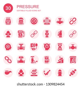 pressure icon set. Collection of 30 filled pressure icons included Gas, Checker, Pressure, Aqualung, Pipe, Hydrant, Link, Extinguisher, Failure, Blood Stress, Sandclock
