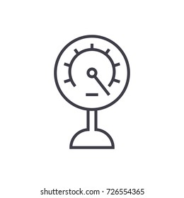 pressure meter vector line icon, sign, illustration on background, editable strokes