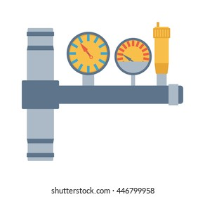 Pressure sensor differential tool vector icon or pressure sensor on factory pipeline