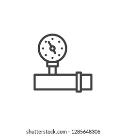 Pressure valve line icon. linear style sign for mobile concept and web design. Water pipe  and gauge outline vector icon. Symbol, logo illustration. Pixel perfect vector graphics