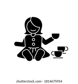 Pretend kitchenware black glyph icon. Baby doll with tea set. Toys for playing pretend game with children. Social skills development. Silhouette symbol on white space. Vector isolated illustration