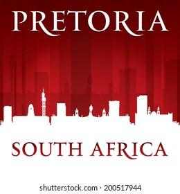 Pretoria South Africa city skyline silhouette. Vector illustration