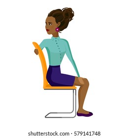 Pretty African American woman in business clothes is doing exercises for back on the office chair. Business woman in healthy twist pose. Vector illustration.