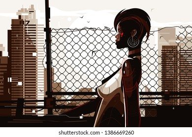 Pretty african american woman vector illustration. Stylish shortcut lady with unusual appearance and perfect slim figure standing outdoors flat style concept. Cityscape background