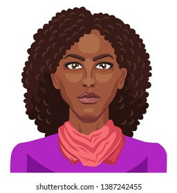 Pretty afro girl with curly hair illustration vector on white background
