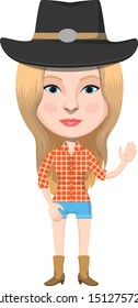 Pretty American Cowgirl Cartoon Character Illustration