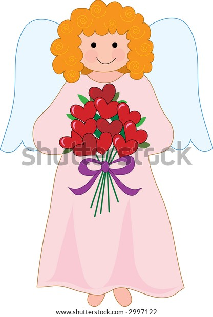 Pretty angel on a cloud with a bouquet of hearts