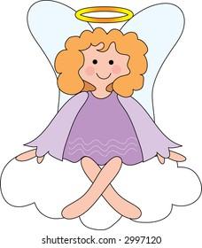 Pretty angel on a cloud with a halo