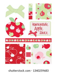 Pretty apple patterns. Use to print onto fabric for jam lids or as backgrounds or other decor projects