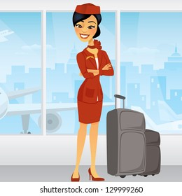 Pretty Asian Flight Attendant with luggage and an airplane in the window behind her