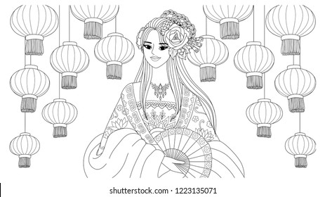 Pretty asian girl wearing Chinese traditional dress with lantern in background for coloring book page.Vector illustration