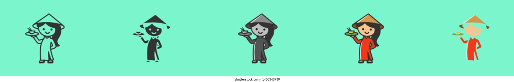 Pretty asian litle girl holding pho rice bowl. This can also used for UI, UX, logo restaurant, cafe, bar. Six icons - linear, solid, black and white, color line, multicolored. Flat vector illustration
