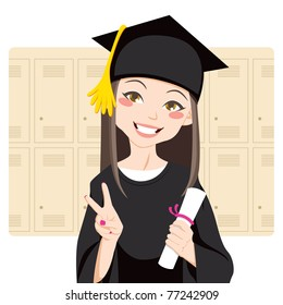 Pretty asian woman smiling in front of lockers holding diploma in her hand and making victory sign
