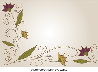 Pretty background featuring flowers in purple and fall colors