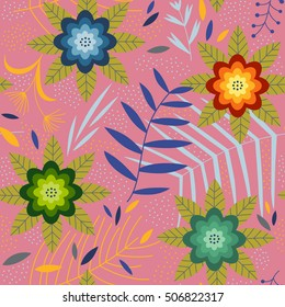 Pretty background with flowers. Seamless vector