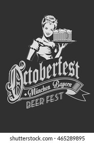 Pretty Bavarian girl with beer. Oktoberfest label ghotic lettering. Ribbon banner.