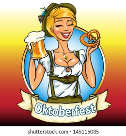 Pretty Bavarian girl with beer and pretzel, Oktoberfest label with ribbon banner and space for text, isolated