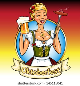 Pretty Bavarian girl with beer and smoking sausage, Oktoberfest label with ribbon banner and space for text, isolated
