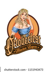 Pretty Bavarian girl. Oktoberfest label gothic lettering. Ribbon banner.