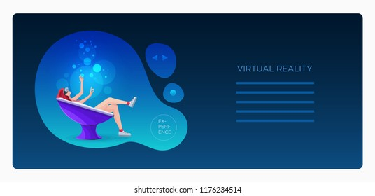 Pretty beautiful girl wearing virtual reality (VR) goggles device lying down in modern semi round chair and using hands touching simulation screen. Design template.