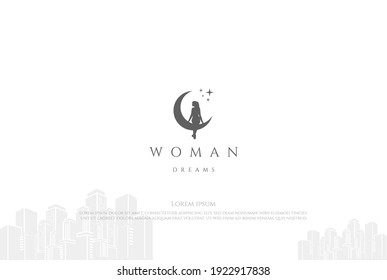 Pretty Beauty Angel Woman Girl Lady Female Crescent Moon Silhouette Logo Design Vector