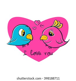 Pretty birds for t-shirt print. Birds love. I love you postcard.