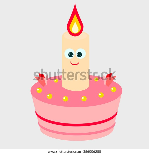 Super Pretty Birthday Cake Candle Back Food And Drink Objects Stock Image Personalised Birthday Cards Veneteletsinfo