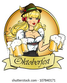 Pretty blond girl with beer, Oktoberfest logo design with space for text, invitation
