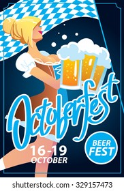 Pretty blond girl with beer, Oktoberfest poster