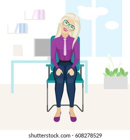 Pretty blonde woman is doing exercise on the office chair. Business woman in healthy warm up pose. Vector illustration.