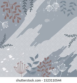 pretty blue scarf pattern with leaf design