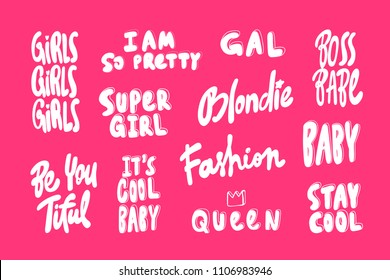 I am so pretty, boss bsbe, blondie. Girls sticker set for social media content. Vector hand drawn illustration design. Bubble pop art comic style poster, t shirt print, post card, video blog cover
