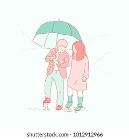 Pretty Boy and Girl Couple's Rainy Days Date. hand drawn style vector doodle design illustrations.