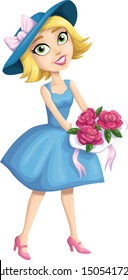 Pretty Bridesmaid Cartoon Character Isolated Vector