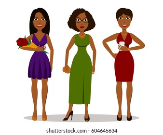 Pretty cartoon african girls in different party dresses. Outfits for party night, isolated on white background. Flat style vector illustration of full body detailed characters in various poses