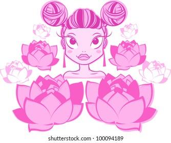 Pretty cartoon girl gas mask pink stock vector royalty free pretty cartoon asian girl with pink flowers mightylinksfo