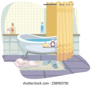 pretty cartoon bathroom, with bath, vector illustration