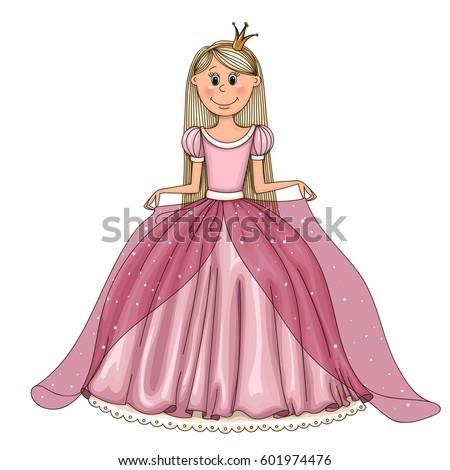 pretty cartoon princess long hair ball のベクター画像素材