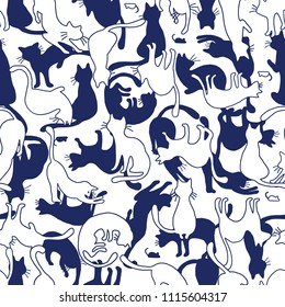 Pretty cat pattern, I made the illustration of a pretty kitten, I continue seamlessly,