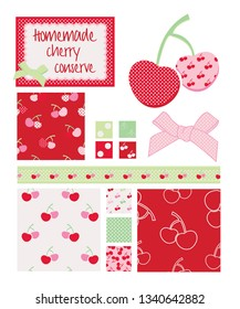 Pretty cherry patterns. Use to print onto fabric or other decor projects.