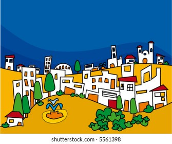 Pretty city with simple small houses